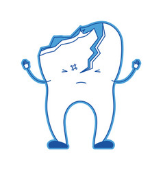Cartoon tooth broken in blue silhouette vector