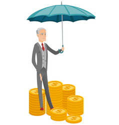 Caucasian business insurance agent with umbrella vector