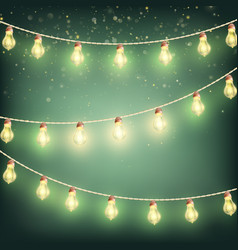 christmas garland lights holiday background eps vector image