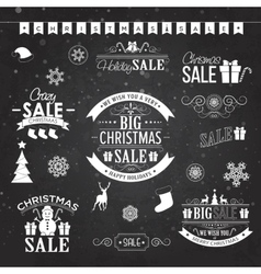 Christmas sale design set - labels emblems vector