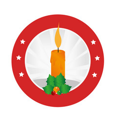 circular emblem with christmas candle and holly vector image