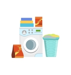 Clothes Washing Household Equipment Set vector