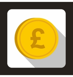 Coin pound sterling icon flat style vector