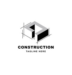 construction logo design with letter d shape icon vector image