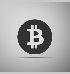 cryptocurrency coin bitcoin icon isolated on grey vector image