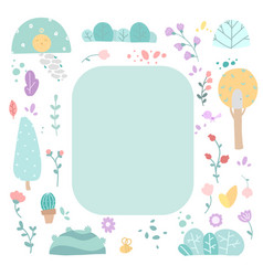 cute floral girly flat set vector image