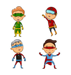 cute four kids wearing superhero costumes vector image