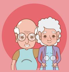 Cute grandparents cartoon vector
