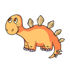 cute little dino isolated on white background vector image