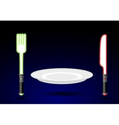 Cutlery from future Knife and fork as light sword vector image