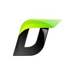 D letter black and green logo design Fast speed vector