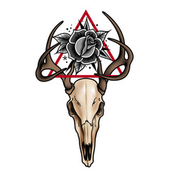 decorative tattoo deer skull and roses with a vector image