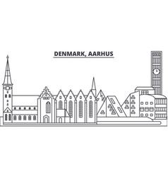Denmark aarhus line skyline vector