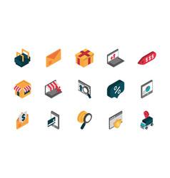 ecommerce business internet icons set isometric vector image