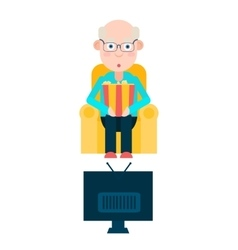 Elderly man watches tv vector
