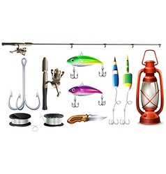 Fishing equipment with pole and hooks vector