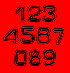 font with contour in college style numbers set vector image