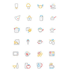 Food Colored Outline Icons 9 vector image