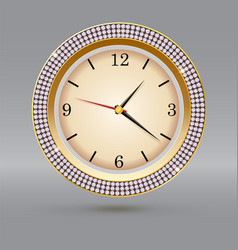 Golden watch with diamonds on gray background vector