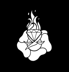 graphic flower and flaming gem vector image