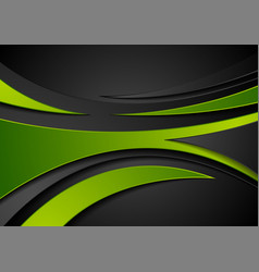 green and black abstract wavy corporate background vector image