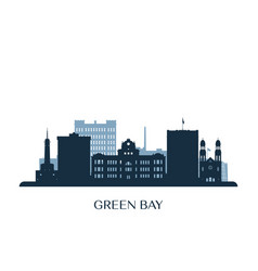 green bay skyline monochrome silhouette vector image