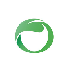 Green leaf shaped circle letter o vector