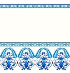 Gzhel style border pattern Blue porcelain russian vector image
