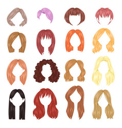 Hairstyle woman female haircut on short or vector