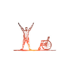 hand drawn happy healed man near wheelchair vector image