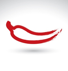 Hand-painted simple red hot chili pepper icon vector