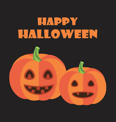 happy halloween poster pumpkins with green stems vector image