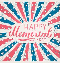 Happy memorial day calligraphy lettering american vector