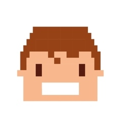 Head human pixelated icon vector