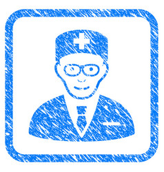 Head physician framed stamp vector