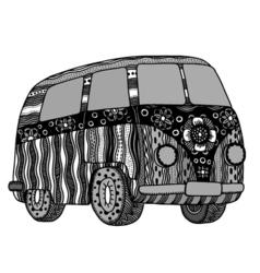 Hippie vintage car vector