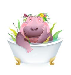 humorous hippopotamus taking bath funny grooming vector image