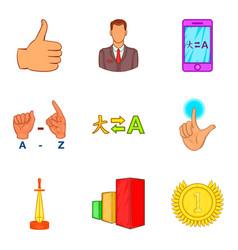 International business coaching icon set cartoon vector
