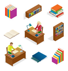 isometric educational concept library elements vector image