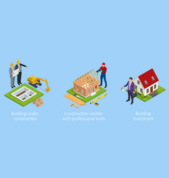 isometric set stage-by-stage construction vector image