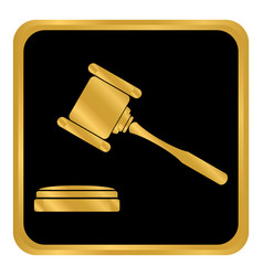 judge gavel button vector image