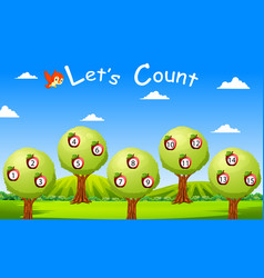 Lets count to fifteen with fruit and tree vector
