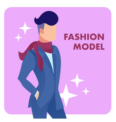 Male fashion model flat poster template vector