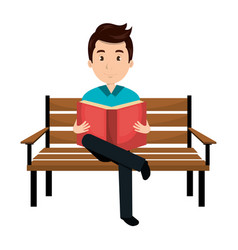 man reading book in park chair vector image