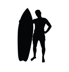 man silhouette with surfboard leisure vector image