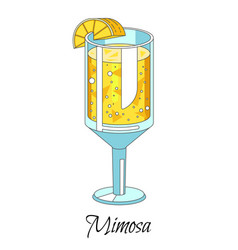 mimosa alcoholic cocktail with orange juice in vector image