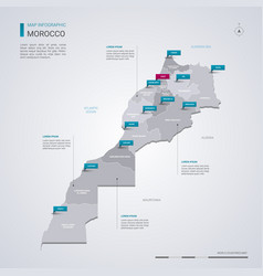 Morocco map with infographic elements pointer vector