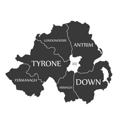 Northern ireland map labelled black vector