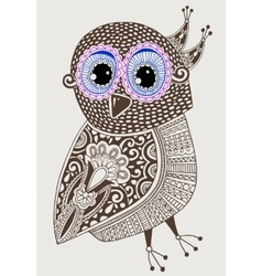 original ethnic decorative owl ink hand drawing vector image