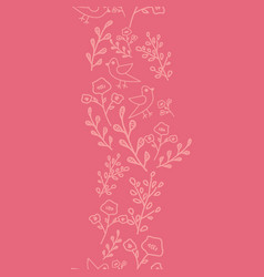Pink hand drawn flowers and birds on coral vector
